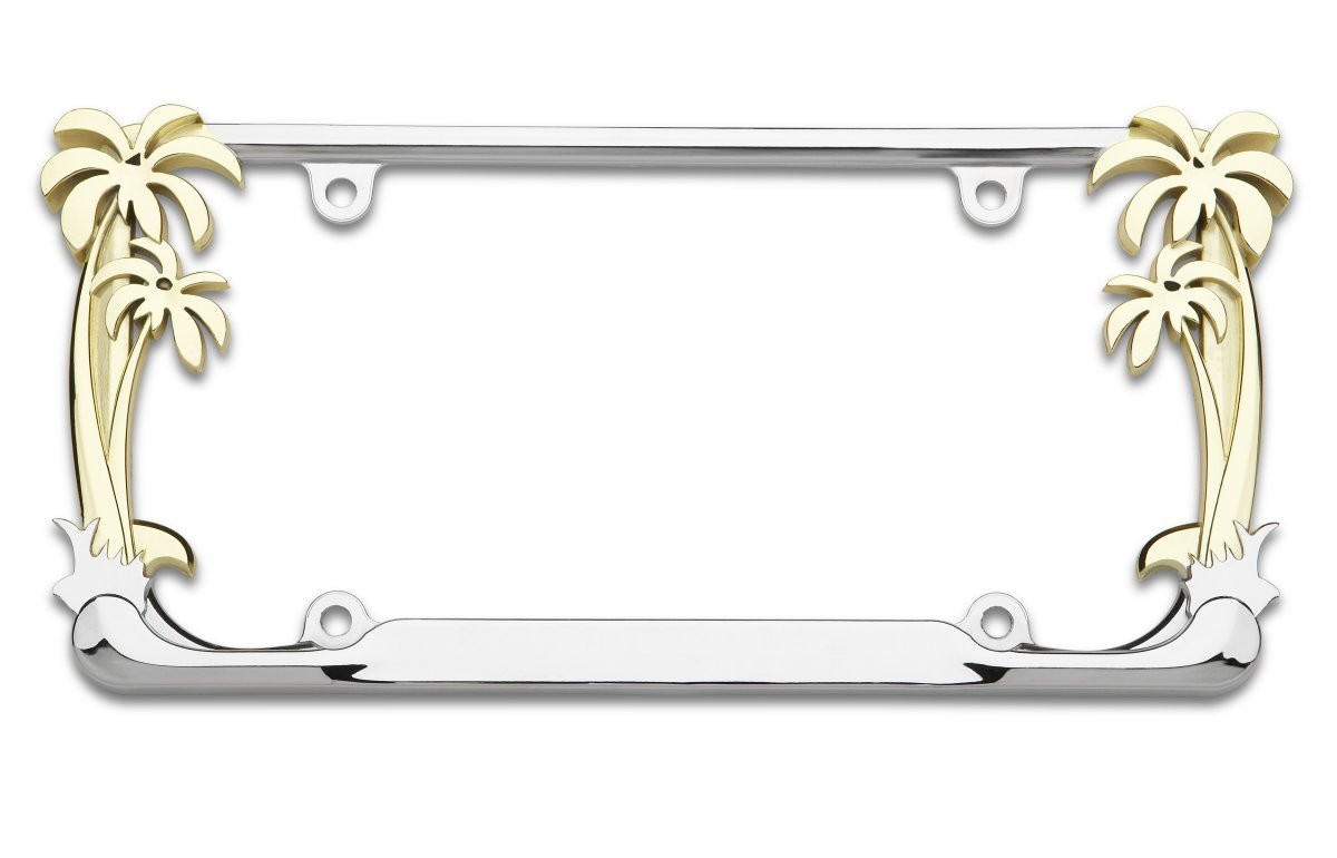 Palm Tree Chrome and Gold Plating License Plate Frame - Seconds